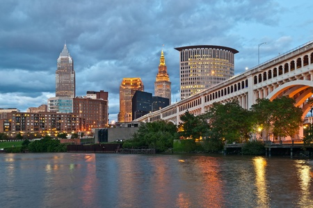 usa cityscape: Cleveland. Image of Cleveland downtown at twilight blue hour.