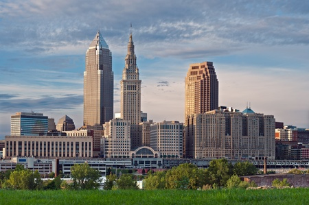 ohio: Cleveland. Image of Cleveland downtown skyline at sunset. Stock Photo