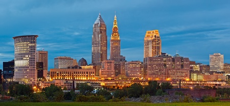 Cleveland. Panoramic image of Cleveland downtown at twilight blue hour. Stock Photo
