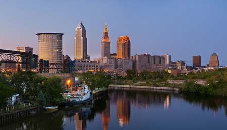 nautical structure: Cleveland. Panoramic image of Cleveland downtown at twilight blue hour.