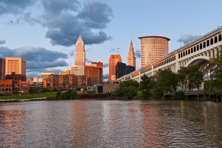 Cleveland. Image of Cleveland downtown at twilight blue hour. photo