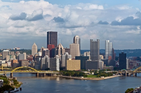 pittsburgh: Pittsburgh skyline. Image of Pittsburgh downtown skyline at summer day. Stock Photo