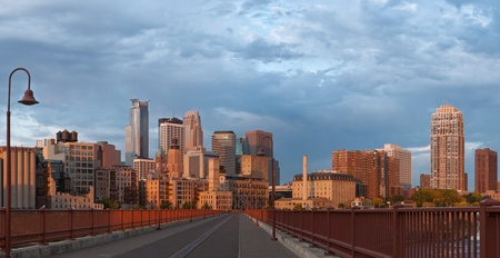 Minneapolis. Panoramic image of Minneapolis downtown at sunrise.  Stock Photo