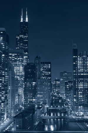 Chicago. Image of Chicago downtown and river at night. photo
