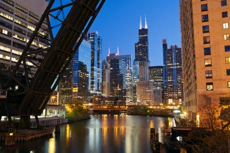 riverside: Chicago downtown riverside. Stock Photo