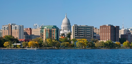 state of wisconsin: Madison. Image of city of Madison, capital city of Wisconsin, USA.