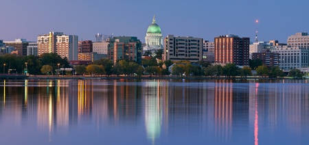 wisconsin state: Madison. Panoramic image of Madison (Wisconsin) at twilight.  Stock Photo