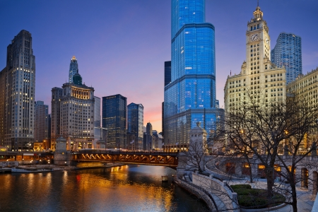 illinois river: Chicago riverside. Image of Chicago downtown district at twilight.  Stock Photo