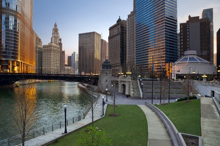 Chicago. Image of Chicago downtown riverfront at sunrise. photo