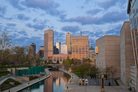 canal street: Indianapolis. Image of downtown Indianapolis, Indiana at sunset.