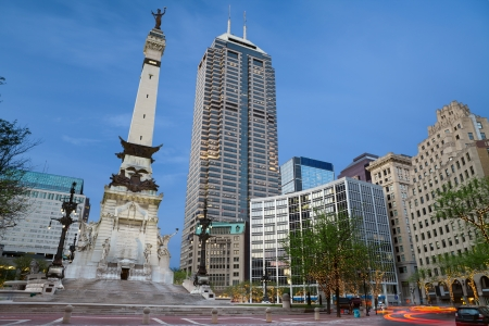 Monument Circle, Indianapolis, Indiana  Monument Circle and the Soldiers  and Sailors  Monument in Indianapolis, Indiana