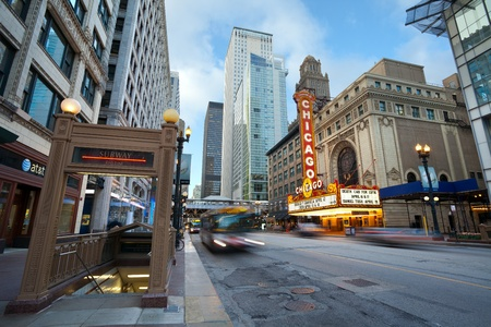 street scene: Chicago theater. Chicago, Illinois, USA - April 5, 2012: The Chicago Theatre is a landmark theater located in the Loop area of Chicago, Illinois.