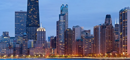 Chicago Skyline. Image of the Chicago downtown lakefront during the blue hour. photo