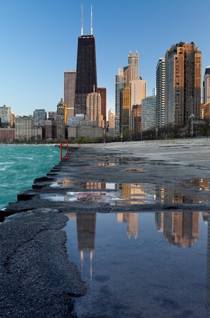 Chicago skyline. Image of the Chicago downtown lakefront at sunset.  photo