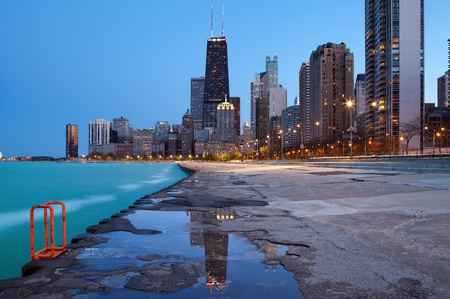 Chicago skyline. Image of the Chicago downtown lakefront at twilight blue hour.  photo