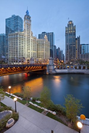 Chicago riverside. Image of the Chicago riverside downtown district during sunset blue hour. photo