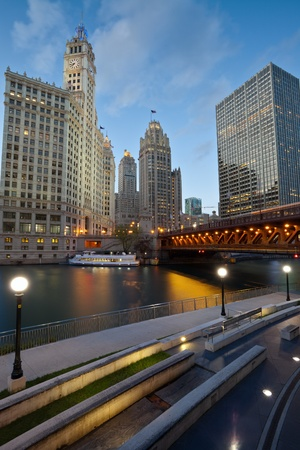 midwest usa: Chicago Riverside. Image of the Chicago riverside downtown district during sunset blue hour.