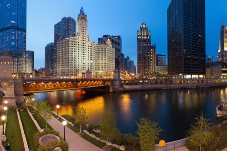downtown district: Chicago Riverside. Image of the Chicago riverside downtown district during sunset blue hour.