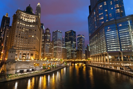 City of Chicago. Image of the Chicago downtown riverside at night. Stock Photo