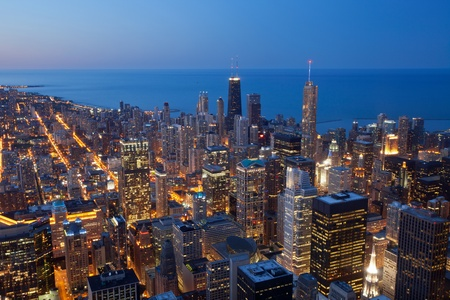 chicago skyline: City of Chicago. Aerial view  of Chicago downtown at twilight from high above.