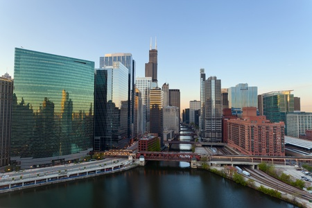 illinois river: City of Chicago. Image of the Chicago downtown district at sunrise. Stock Photo