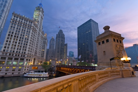 Chicago Sunrise. Image of the Chicago riverside downtown district during sunrise. photo
