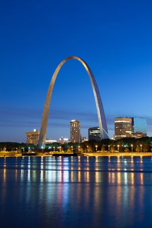 St. Louis. Image of the St. Louis downtown with Gateway Arch at twilight.