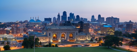 Kansas City skyline panorama  Panoramic image of the Kansas City downtown district at sunrise