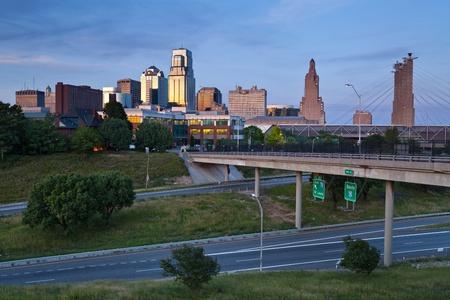 city life: Kansas City. Image of the Kansas City skyline at twilight.