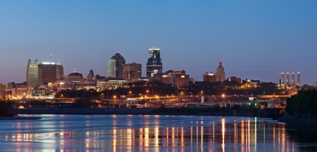 midwest usa: Kansas City skyline panorama  Panoramic image of the Kansas City downtown district