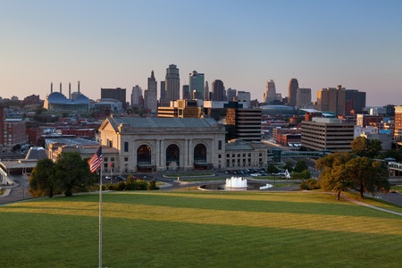 city park skyline: Kansas City  Image of the Kansas City skyline at sunset