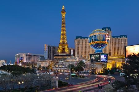 Las Vegas, Hotel Paris  Las Vegas, USA - february 4th, 2012  Luxurious Paris Las Vegas hotel and casino located at the Paradise area in the Las Vegas Strip, the replica Eiffel Tower, Bally s Hotel