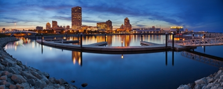 wisconsin: Milwaukee  Panorama. Panoramic image of the Milwaukee lakefront during sunset.