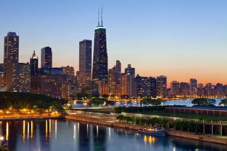Chicago Skyline. Chicago downtown skyline at dusk. Stock Photo - 13991862