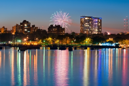 holiday lights display: Milwaukee firework. 4. july fireworks, city of Milwaukee and harbor. Stock Photo
