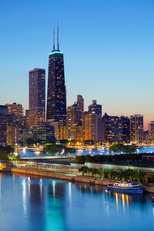 lake shore: Chicago skyline. Chicago downtown skyline at dusk. Stock Photo