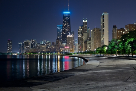 night life: Chicago Skyline. Image of the Chicago downtown lakefront at night.
