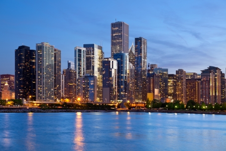 chicago skyline: Chicago Skyline. Image of the Chicago downtown skyline at dusk.