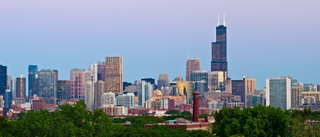 Chicago Skyline. Panoramic image  of Chicago downtown at sunset from high above.  photo