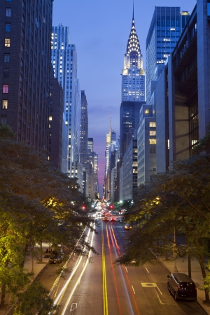 42nd street in Manhattan. Image of the 42nd street in midtown Manhattan, New York City at twilight. Stock Photo