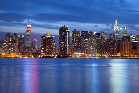 Manhattan Skyline. Image of the Manhattan skyline viewed from Queens at twilight.