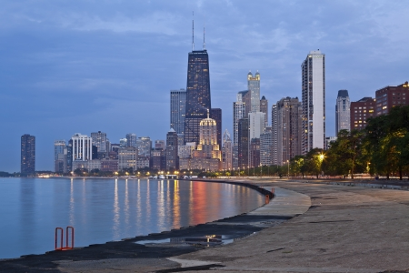 Chicago: Chicago Skyline. Image of the Chicago downtown lakefront at twilight.