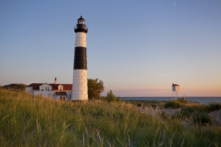 lake michigan lighthouse: Big Sable Point Lighthouse. Imagen de la Gran Faro Sable Point, Michigan, EE.UU..