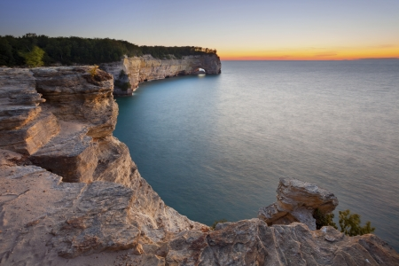 pictured: Michigan Landscape. Image of Grand Portal Point in Pictured Rock National Lakeshore, Michigan, USA. Stock Photo