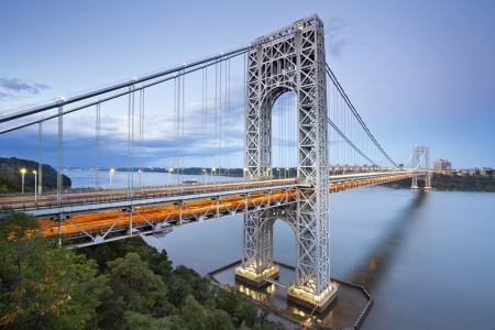 steel arch bridge: George Washington Bridge, New York. Image of George Washington Bridge at Twilight.