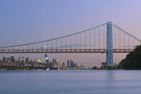 George Washington Bridge, New York. Image of George Washington Bridge and Manhattan skyline at twilight. photo