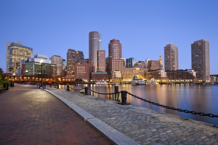 boston skyline: Boston Skyline. Image of Boston city skyline at twilight.