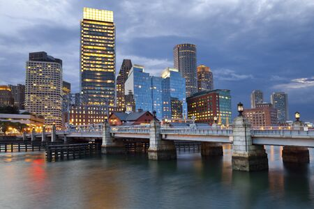 Boston. Image of Boston city skyline at twilight. photo