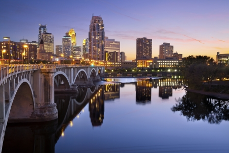 Minneapolis. Image of Minneapolis downtown skyline at sunset.