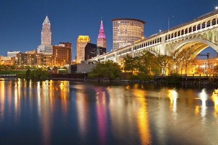 ohio: Cleveland. Image of Cleveland downtown at twilight blue hour.